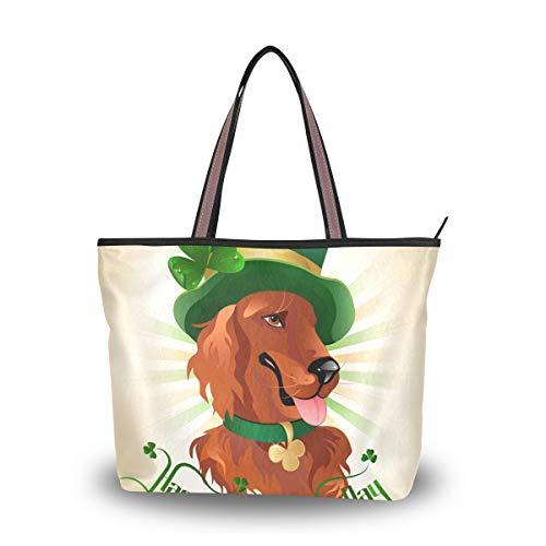 Ahomy Damen-Handtaschen, Happy St Patricks Day Hundehut, modische Damen-Tragetasche, Schultertasche, lässige Geldbörse, Mehrfarbig - multi - Größe: M