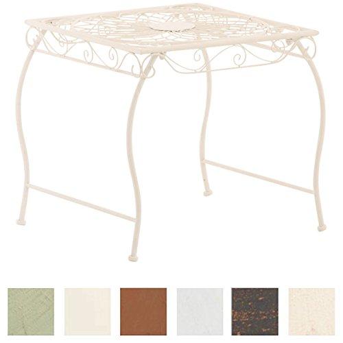 CLP Tavolino in Ferro Zarina Decorativo - Tavolino da caffè per Interno ed Esterno I Tavolino da Giardino Stile Rustico 50x45cm I Tavolino Quadrato da Balcone Design rétro Bianco