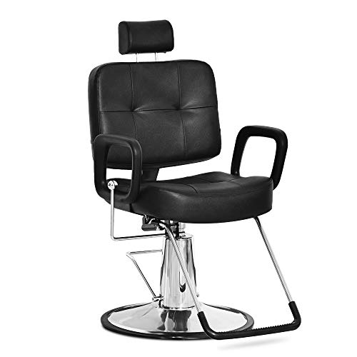 Hydraulic Reclining Styling Barber Chair Salon Spa Tattoo Chair Beauty Equipment (18', Black)