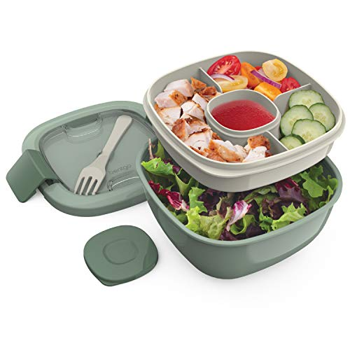 Bentgo Salad BPA-Free Lunch Container with Large 54-oz Bowl, 3-Compartment Bento-Style Tray for Salad Toppings and Snacks, 3-oz Sauce Container for Dressings, and Built-In Reusable Fork (Khaki Green)