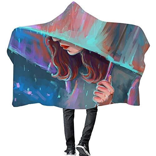 Hinyyee Mädchen Porträt gedruckt Kapuze Decke Winter warme Plüsch Mantel tragbare Bad Kinder Erwachsene werfen (Color : 3, Size : 130 * 150)