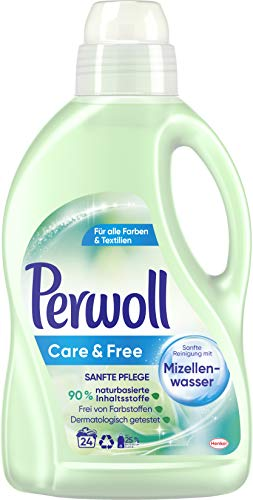 Perwoll Care und Free, Flüssigwaschmittel mit Mizellenwasser für empfindliche Haut und Allergiker geeignet (24 Waschladungen)