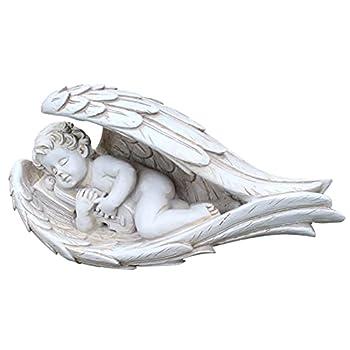 EKDJKK Sleeping Baby Angel Statue Cherub in Wings - Garden Statues and Figurines Outdoors Baby Angel Figurines Statuette Shelf Sitter Angel Collection Angel Wings  White