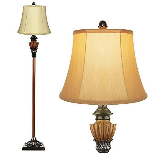 PARTPHONER Floor Lamp for Living Room, Vintage Tall Standing Lamp for Bedroom Reading, Upright Tall Pole Lamp of Exquisite Workmanship with Light Gold Lampshade