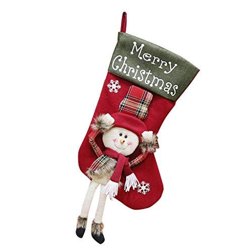 Kolylong® Weihnachtsstrumpf Weihnachtsdeko Weihnachten Geschenktasche Zucker Beutel Weihnachtsbaum Deko 4PCS Stickerei Socken Dekoration Nikolausstrumpf Weihnachtsdekoration