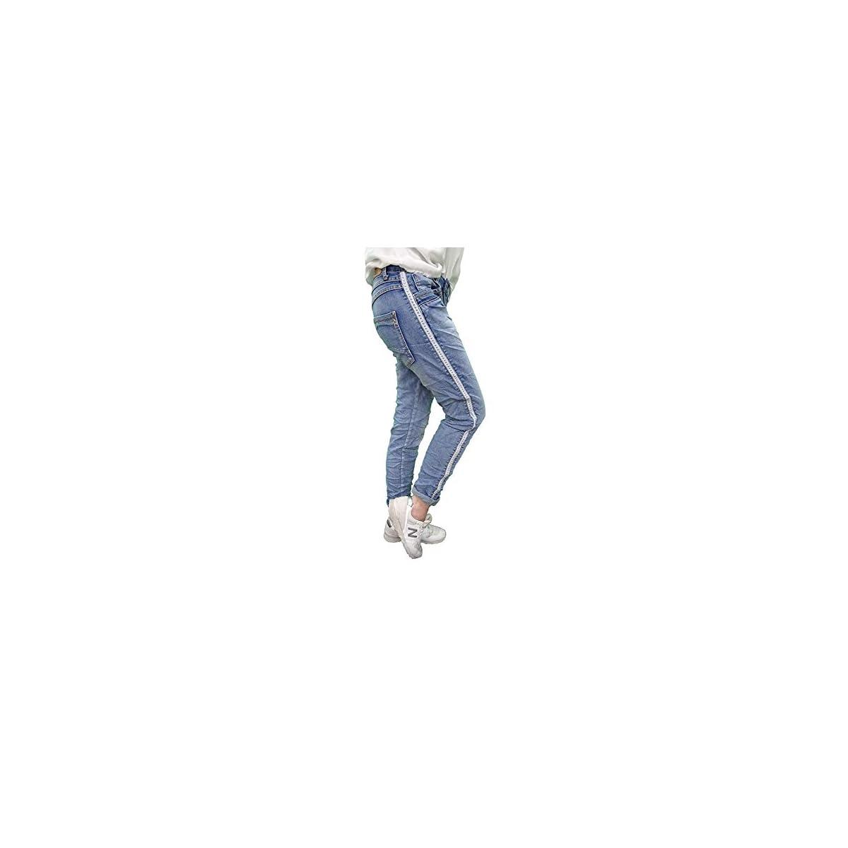 Karostar Stretch Baggy Boyfriend Jeans Nieten Seitenstreifen New Denim M-38