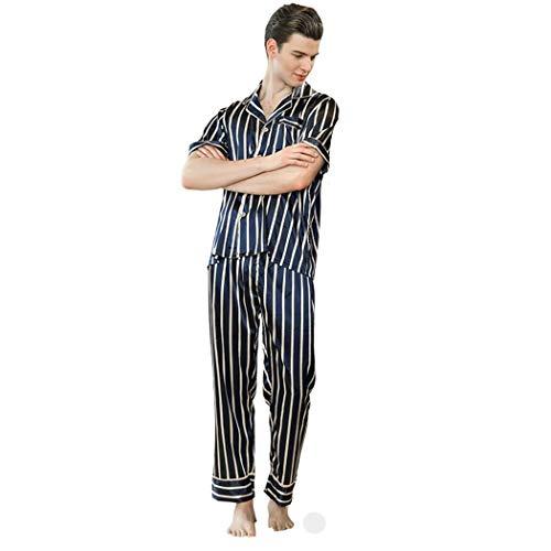 AXIANQIPJS heren streep revers zijde pyjama sets 2-delige lange mouw broek sexy met knoop kraag en zak badjas lente en herfst slaapmode