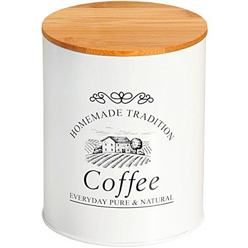 KESPER 3825063 Aufbewahrungsdose - COFFEE - aus Weißblech im Landhaus-Stil/Bambus/Country Collection
