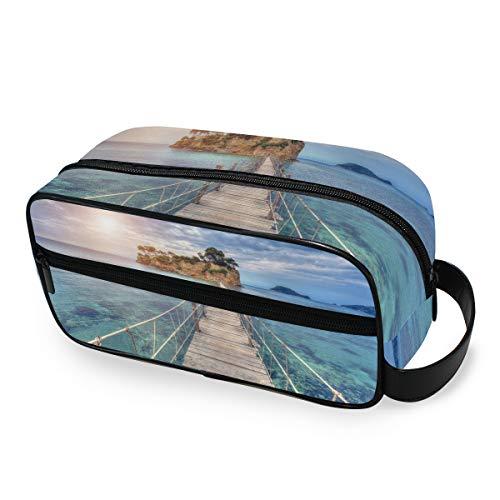 Aufbewahrung Tragbare Toilettenbeutel Werkzeuge Kosmetische Zugkoffer Brieftasche Make-up-Tasche Reise Ocean Sea Bridge Island