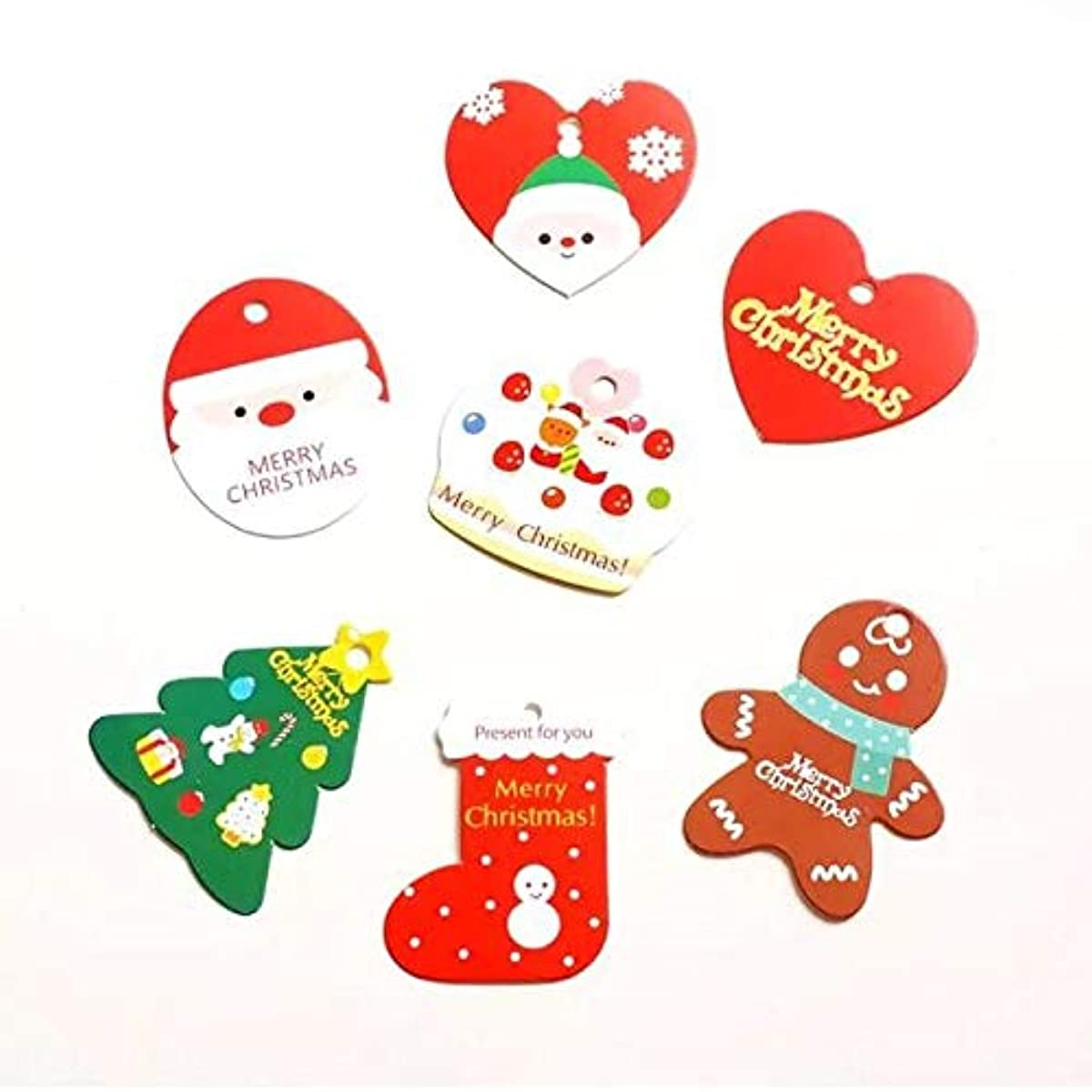 Cocobee Christmas Gift Tags for Christmas Gift Wrapping with String for Christmas Party Xmas Presents & Gifts Wrapping Accessories (7 Designs)