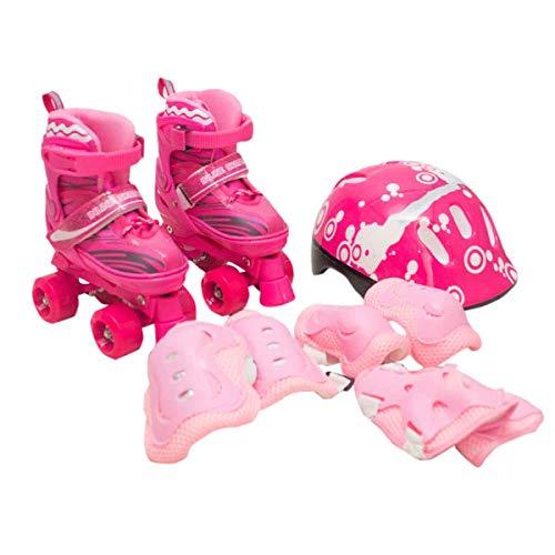 Patins Infantil Roller 4 Rodas + Capacete Proteção Ajustável Rosa M - 33 AO 36
