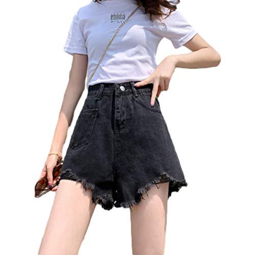 Pantalones Cortos para Mujer Verano de Cintura Alta Pantalones Cortos de Mezclilla deshilachados Irregulares Moda Pantalones Cortos de Mezclilla Casuales Atractivos Calientes Delgados S