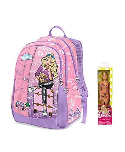Mochila Escolar Compatible con Barbie Malibu Redonda de Tres Cremalleras Americanas con muñeca de Regalo