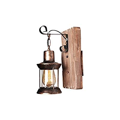 Rustic Wooden Wall Sconces Vintage Industrial Wall Light Fixtures Modern Metal Indoor Lamp for Bedroom Farmhouse Living Room (Brass Color)