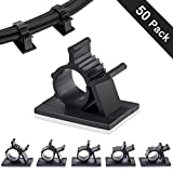 COOLMI Self Adhesive Nylon Wire Adjustable Cable Clips, Cable Cord Management Organizer Wire Straps Holder - Black (50 Pcs)