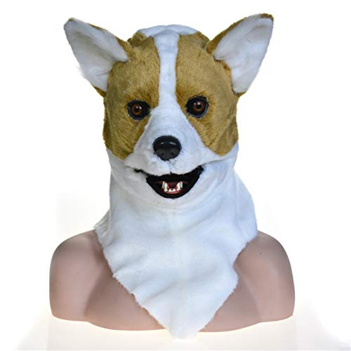 ROYAL STAR TY Animal Cosplay Sombrero Peluche Amarillo Corgi Perro Sombrero Boca Mover Peludo Animal Movimiento Jaw Headgear Novela Regalo para el Cosplay Carnaval Traje Fiesta