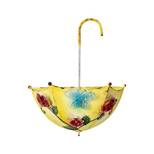 Buyfunny01 - Maceta de pared desmontable con forma de paraguas multifunción para colgar en el hogar, jardín, patio, patio, hierro, balcón (amarillo)