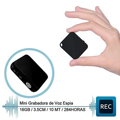 H+Y Mini Grabadora de Voz, Grabadora Espia Portátil de 16 GB, Recargable MP3 por USB, HD Grabadora de Audio con Activación por Voz, Ideal para Clases, Reuniones, Entrevistas, Hasta 284 Horas