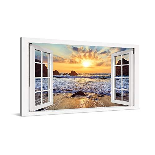 PICANOVA – Cuadro sobre Lienzo Sunset Over Rocky Beach Window 100x50cm – Impresión En Lienzo Montado sobre Marco De Madera (2cm) – Disponible En Varios Tamaños – Colección Playas