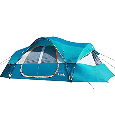 UNP Camping Tent 10-Person-Family Tents, Big, Easy Up, 5 Large Mesh Windows, Double Layer, 2 Room, Waterproof, Weather Resistant, 18ft x 9ft x78in