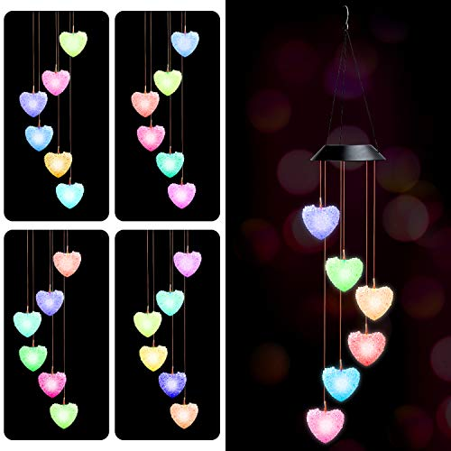 No brands LED Solar Wind Chime, Color Changing Wind Chime Wind Mobile Portable Waterproof Outdoor Decorative Wind Bell Light for Patio Yard Garden Home, for Party//Thanksgiving/Christmas (Pink-Heart)
