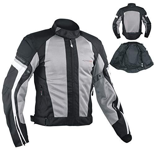 A-Pro, Giacca per motocicletta, estiva, con rete mesh, RaceTouring, con protezione CE, Grigia, taglia M