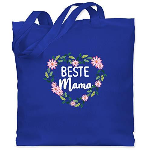 Shirtracer Muttertagsgeschenk - Beste Mama Blumenherz - weiß - Unisize - Royalblau - Geschenk - WM101 - Stoffbeutel aus Baumwolle Jutebeutel lange Henkel