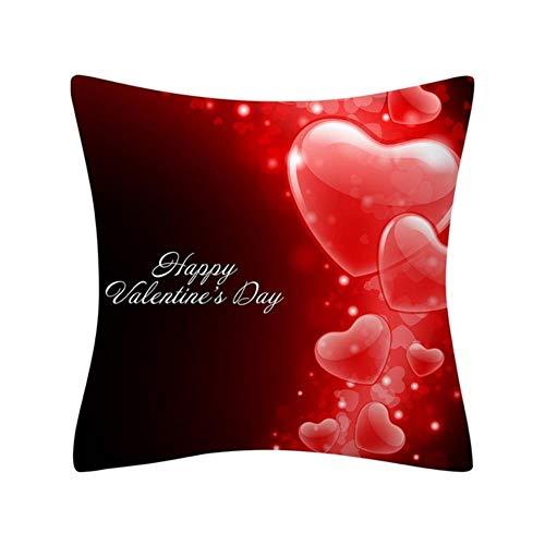 Funda de cojín de algodón y poliéster con diseño de corazón, color rojo