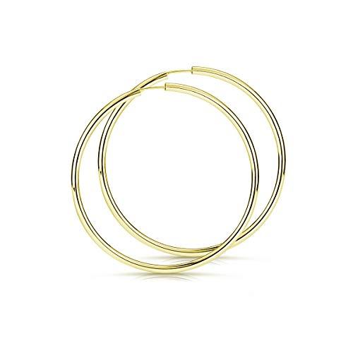 Materia Creolen Ohrringe Gold rund 47mm - 925 Echt Silber Kreolen Ringe Gelbgold vergoldet leicht dünn SO-83