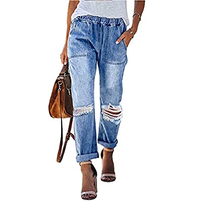 Genleck Womens Ripped Distressed Jeans Elastic ...