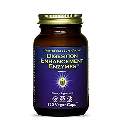 HealthForce SuperFoods Digestion Enhancement Enzymes - 120 Vegan Capsules - All Natural Plant Sourced Enzyme Supplement, Promotes Healthy Gut - Gluten Free - 30 Servings