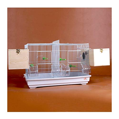 DFBGL Jaula para pájaros de cría Avanzada para periquitos Canarios pinzón - Jaula de pájaros de Metal Grande Jaula de pájaros de Viaje con partición (Jaula de pájaros de Metal Blanco (Co