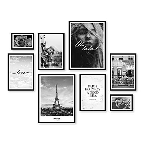 ARTFAVES Poster Set - Paris City Love | Deko Fashion schwarz-weiß | 8 Moderne Wandbilder Premium Mix | 30x40-21x30-13x18 | Bilder Wohnzimmer, Schlafzimmer | ohne Rahmen