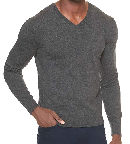 BANANA REPUBLIC Men's Premium V-Neck Sweater (Gray, L)