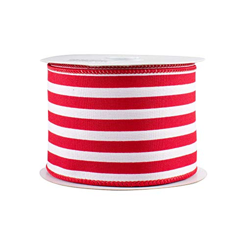 Red White Stripe Wired Ribbon - 2 1/2' x 10 Yards, Satin, Christmas Tree Decoration, Wreath, Garlands, Gifts, Wrapping, Wreaths, Bows, Birthday, Valentine's Day, Summer Beach Decor