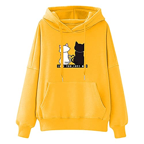 Hoodies for Women Lightweight Crewneck Trendy Cute Cat Prints Sweatshirts Long Sleeve Comfy Fall Sweaters with Pocket