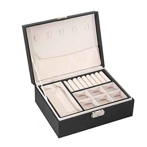 LXQLLJJD Caja de Almacenamiento de Joyas, 2 Capas con Cerradura de Ornamentos de Cuero Organizador Caja para Pendientes, Anillos, Collares, Pulseras,Negro