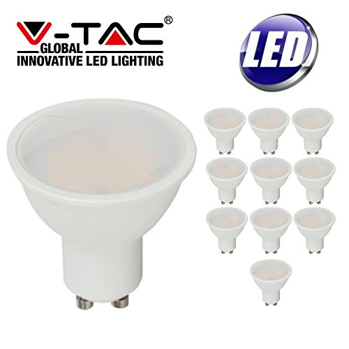 10Stück V-TAC LED 5W Tageslicht GU10nicht dimmbar Lampe 6400K–400Lumen 30.000Stunden Lebensdauer–10PACK–1687vt-1975