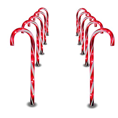Prextex Christmas Candy Cane Pathway Markers Set of 10 Christmas Indoor/Outdoor Decoration Lights (Renewed)