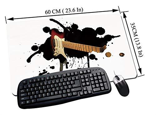 Gaming und Office Mauspad,Popstar Party, E-Gitarre Griffbrett auf schwarzem Grunge Farbspritzer Kunst, Schwarz Hellbraun Creme,mit vernähten Rändern und rutschfester unterseite60x35cm