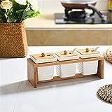 Frascos de especias de cerámica Conjuntos con rack de madera Condimento de condimento Botellas de almacenamiento con cucharas Salt Pepper Jar Jar Organizador Contenedor (Color : 3 PCS SET)