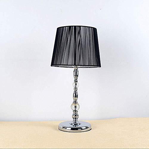 LGR Lámpara de Mesa de Moda Lámpara de Mesa de Cristal de Metal Creativa Tela cálida Lámpara de Noche para Dormitorio Moderno Lámpara de habitación para el hogar 23 45cm