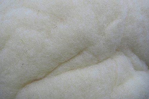 Lana de relleno de lana de oveja 100% pura, natural, 500 g, (31,90 € / kg) fina, compostable, algodón, lana artesanal, adecuada como relleno natural y renovable para, por ejemplo. peluches, muñecas