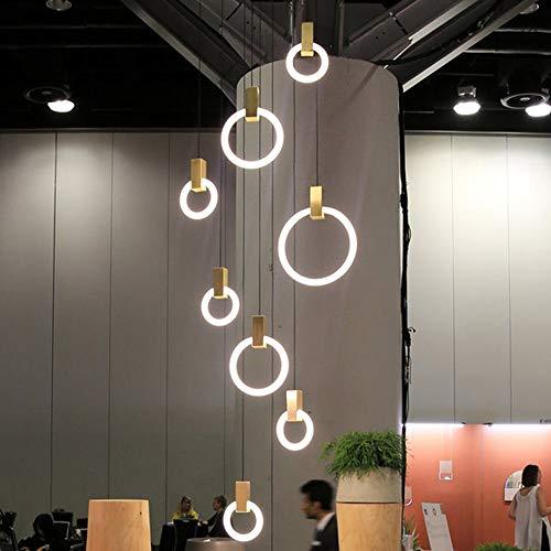 CHENJUNAMZ Anillo Simple lámpara de araña Creativo Restaurante Bar Salón Dormitorio Estudio de luz de lámpara Moderna (Size : S)