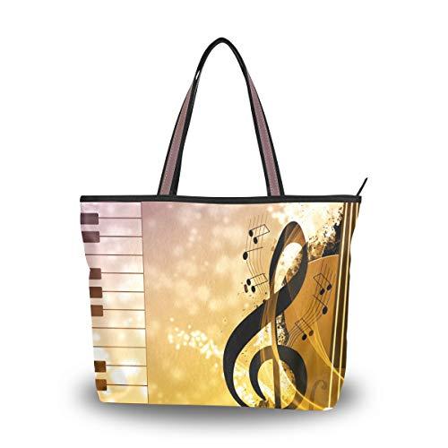 NaiiaN Für Frauen Mädchen Damen Student Vögel Umhängetaschen Musik Symbol Instrument Klavier Leichte Gurt Einkaufstasche Geldbörse Einkaufstaschen