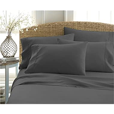 Top Selling SOLID Style Soft 1200 Thread Count Heavy Quality 4-PCs Egyptian Cotton Sheet Set Fits Mattresses up to 21-22  Deep Pockets, ( Queen Size, Grey ) Satisfaction Guarantee