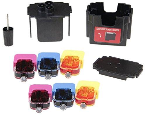 EASY-REFILL Nachfüllset - Befülladapter und 6 x Nachfülltinte für HP 305 color (XL) Patronen. Druckerpatronen ganz einfach selbst nachfüllen! Mit Video-Befüllanleitung in Youtube