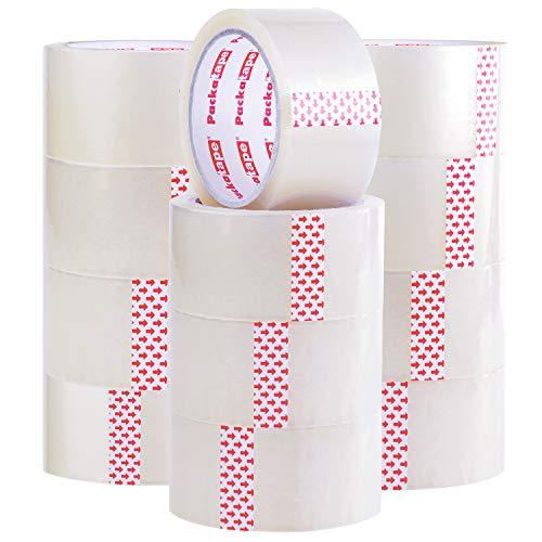 Packatape - nastro trasparente per pacchetti e scatole, 12 rotoli da 48 mm x 66 m