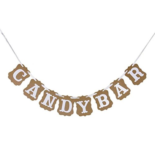 Shopline CANDY BAR Bunting Banner Sign for DIY Wedding Parties Reception Buffet Decoration