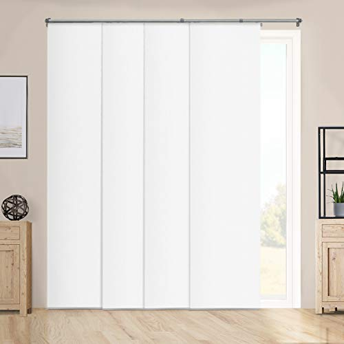 Chicology Adjustable Sliding Panels Cut to Length Vertical Blinds, Up to 80' W X 96' H, Performance White (Room Darkening)